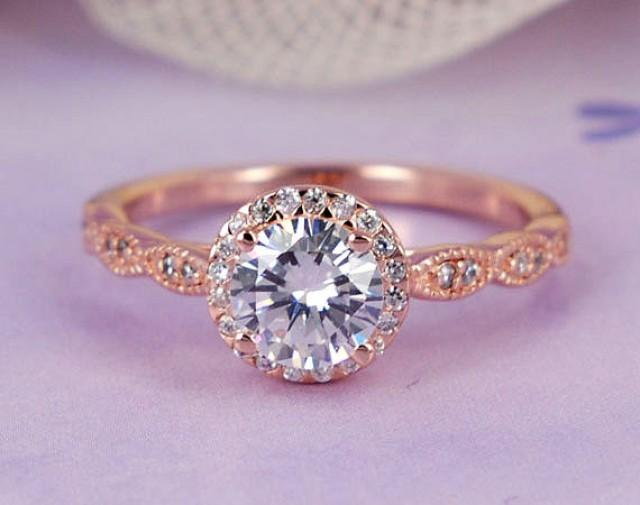 0 96 Ctw Round Halo Ring Man Made Diamond Sterling Silver Engagement Wedding