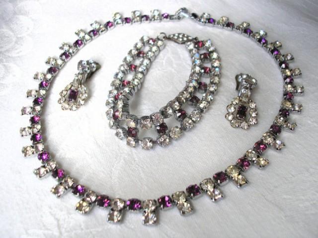 wedding photo - Amethyst Bridal Set, Purple Rhinestone Jewelry, Amethyst Parure, Vintage Bridal Set, Art Deco, Amethyst Choker, Prom, 1950s, Downton