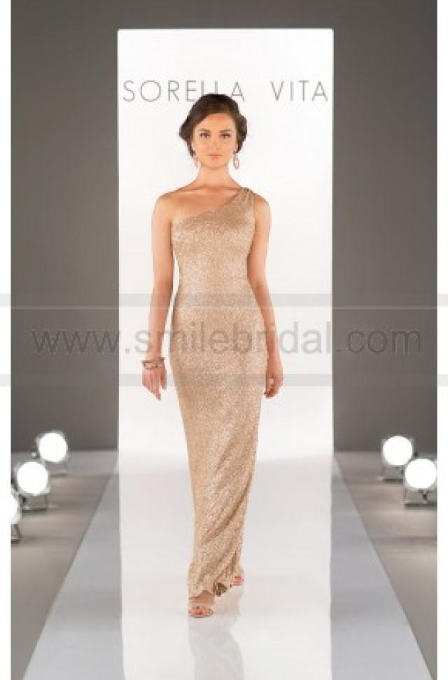wedding photo - Sorella Vita One-Shoulder Sequin Bridesmaid Dress Style 8726