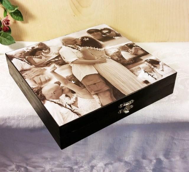 wedding photo - Custom Photo Collage, Photo Collage Box, Personal Collage Keepsake Box, Photo Collage, Personal Photos, Customized Photo Box, Photo Box