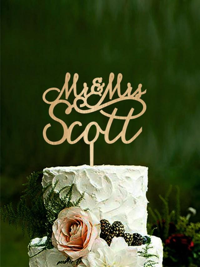 wedding photo - Wedding cake topper mr and mrs Last name cake topper Personalised mr and mrs cake topper Name toppers for cakes elegant cake toppers Gold