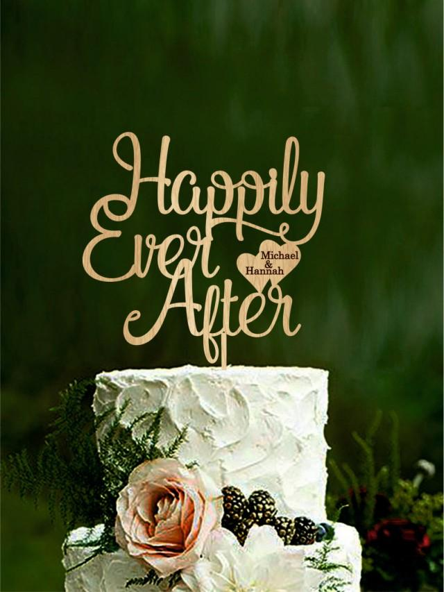 wedding photo - Wedding Cake topper Happily Ever After custom wedding cake topper Phrase Cake Topper Bridal Shower Decor Wedding Centerpiece Topper Gold