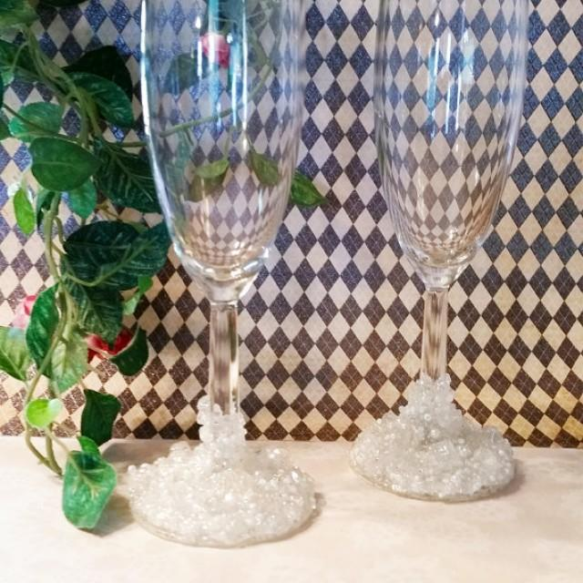 wedding photo - Wedding Champagne Flutes, Decorated Champagne Flutes, Bride and Groom Champagne Glasses, Beaded Glasses, Wedding Glasses, Champagne Glasses