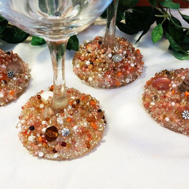 wedding photo - Fun Flowers Wine Glasses, Beaded Wine Glasses, Decorated Wine Glasses, Decorated Glasses, Embellished Glasses, Wedding Glasses, Wine Glasses
