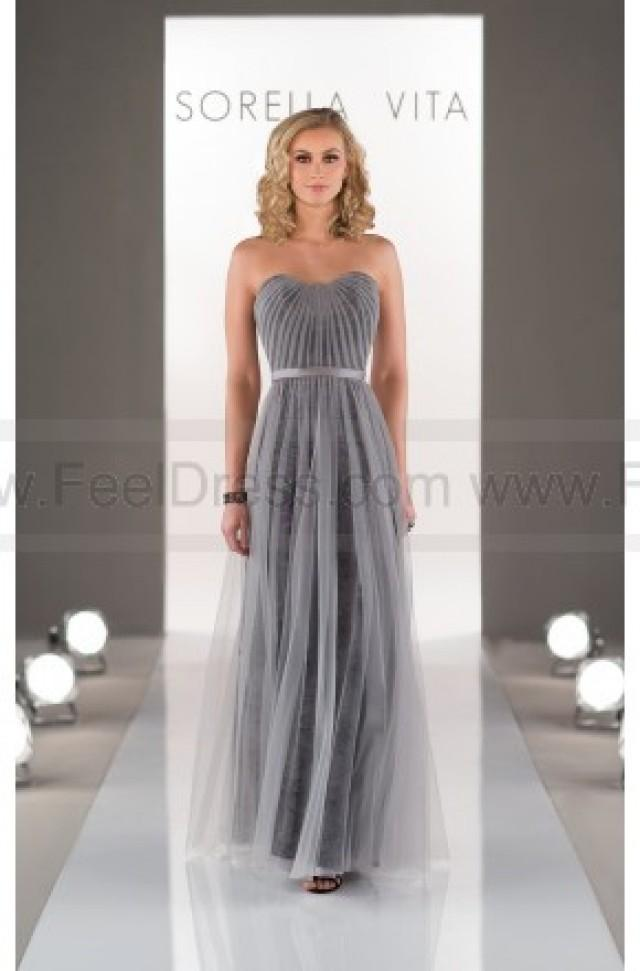 wedding photo - Sorella Vita Sheath Bridesmaid Dress In Tulle Style 8501