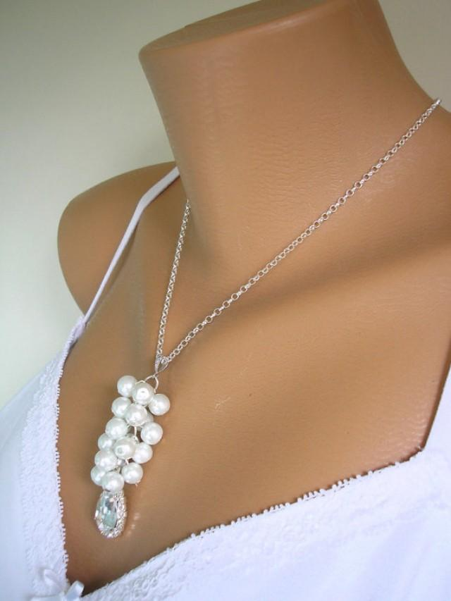 wedding photo - Pearl Cluster Necklace, STERLING Silver, Pearl Pendant, Bridesmaid Sets, Wedding Necklace, White Pearls, Cream Pearls, Bridal Jewelry