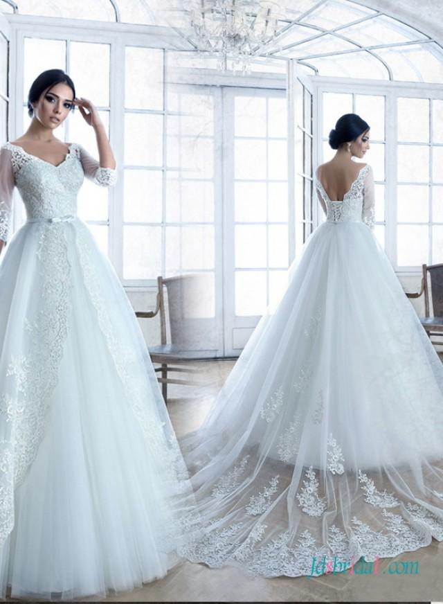 Modest illusion lace long sleeves princess wedding dress for Long sleeve princess wedding dresses