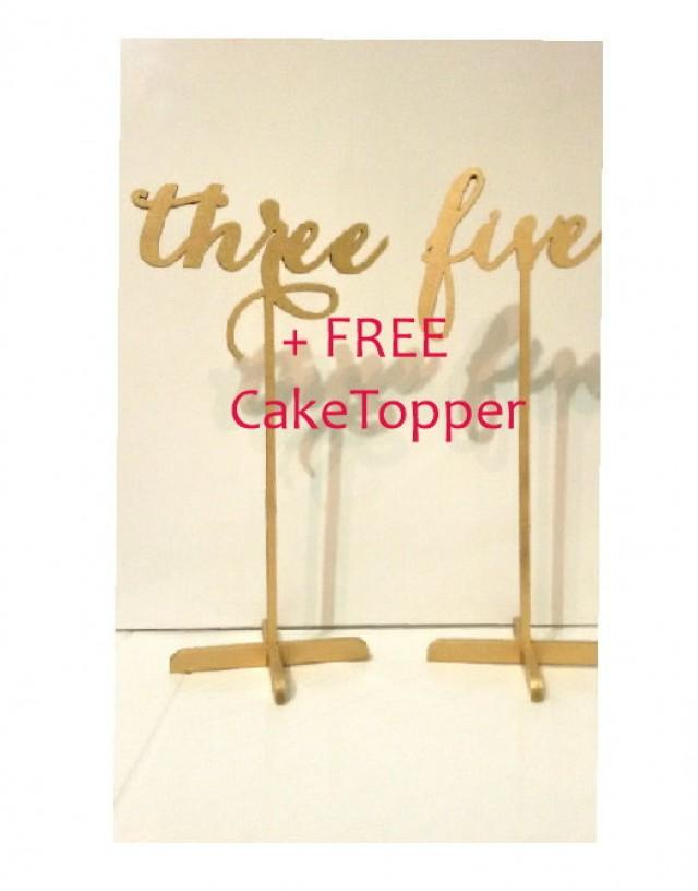 wedding photo - 15 Freestanding Gold Table Numbers. Wedding Numbers. Table numbers.   FREE Cake Topper