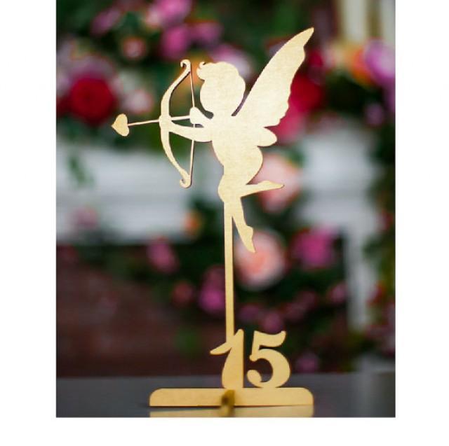 wedding photo - Set of 1-4 Freestanding Gold Cupid Table Numbers. Wedding Numbers. Table numbers. Numbers.