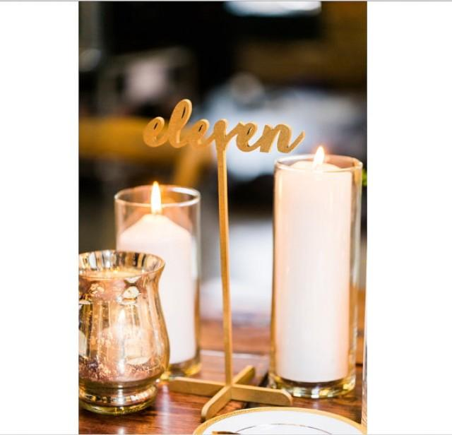 wedding photo - 15 Freestanding Gold Table Numbers. Wedding Numbers. Table numbers. Shipping next day!!