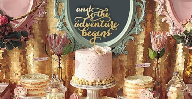 """wedding photo - SALE Cake topper """"and so the adventure begins"""". Wedding cake decor. Wedding wood topper."""