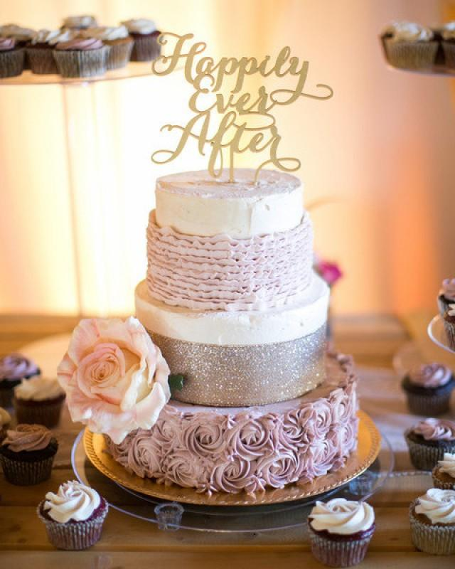 wedding photo - Happily Ever After Wedding Cake Topper.