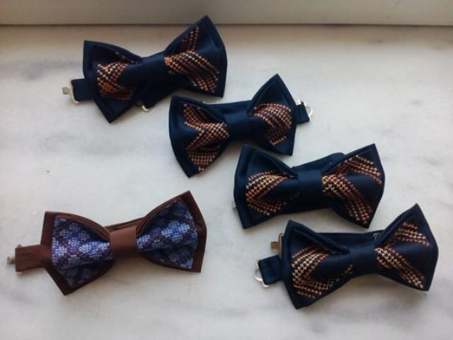 wedding photo - nautical wedding bow ties set of 5 bowties for groom and groomsmen neckties ringbearer outfit father of the bride bowtie brown navy blue aA3