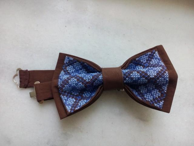 wedding photo - nautical wedding bow tie brown bowtie with hand embroidery groom's necktie blue groomsmen ties wedding gift men bowties gift for husband ttt