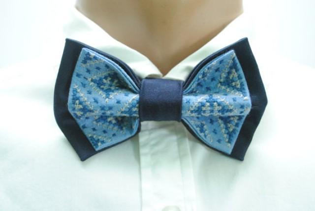 wedding photo - mens bow tie men's gift mens bowtie wedding bow tie blue navy embroidered bow ties for men groomsman gift groom wedding gift party niicklaan