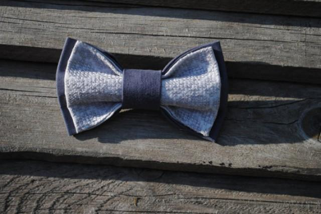 wedding photo - grey bow tie embroidered taupe bowtie groomsman gray tie men's tie man necktie groom gift for brother gift birthday wedding best man vyriski