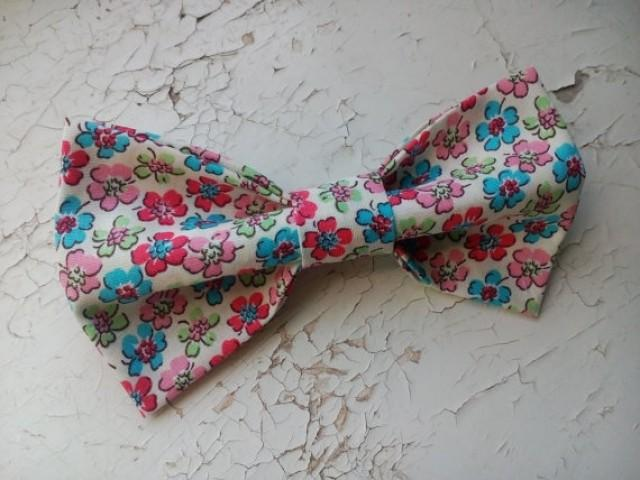 wedding photo - floral bow tie wedding ivory red blue blossom men's bowtie groom bow ties groomsmen gift wedding party father of the bride gift for boys hji