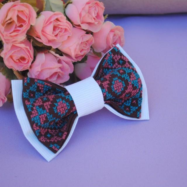 wedding photo - dark brown bow tie mint striped bowtie wedding bow tie for groom mint necktie groomsmen bow ties men's bow tie gift for father wedding ties
