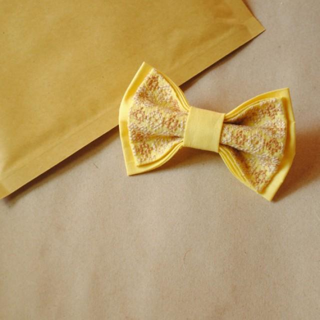 wedding photo - yellow bowtie wedding bow tie papillon jaune women's neckties thanksgiving gift idea xmass photography session ties with tracery groom gava
