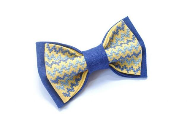 wedding photo - blue bow tie wedding tie embroidered blue yellow bowtie groom chevron necktie groomsmen gift for men kids ties baby boys prop boyfriend män