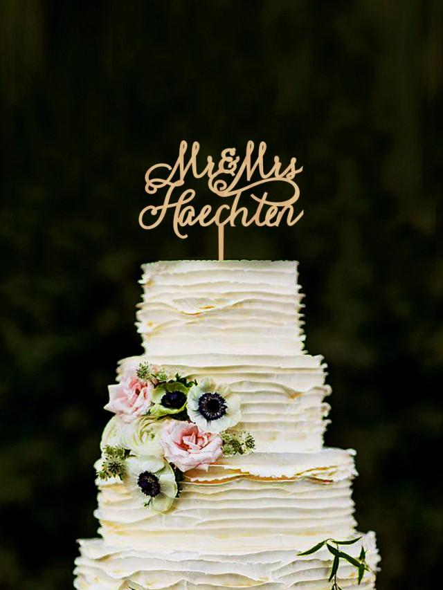 Last Name Wedding Cake Topper Personalised Mr And Mrs Cake Topper Wooden Cake Toppers Name