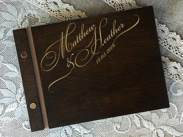 wedding photo - Wedding guest book Personalized guest book Wedding notebook Custom guestbook Wooden guestbook wedding signing book guest book alternative