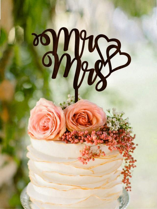 wedding photo - Wedding cake topper, Mr & Mrs cake topper, Heart wedding cake topper, Gold wedding cake toppers, Wedding cake decorations Silver cake topper