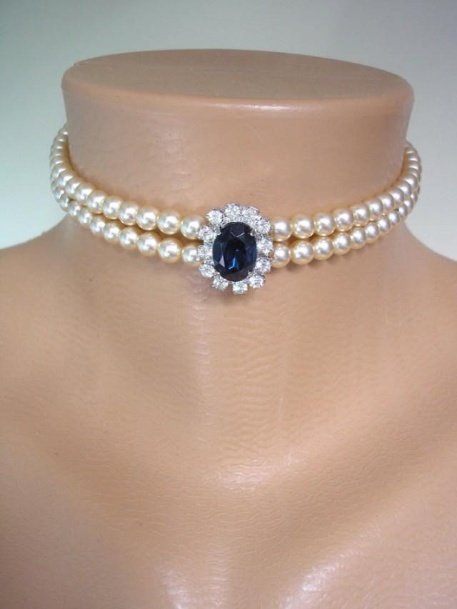 wedding photo - Sapphire Pearl Bridal Choker, Great Gatsby Jewelry, Pearl Necklace, Pearl And Rhinestone Collar, Vintage, Mother of the Bride, Deco, Wedding