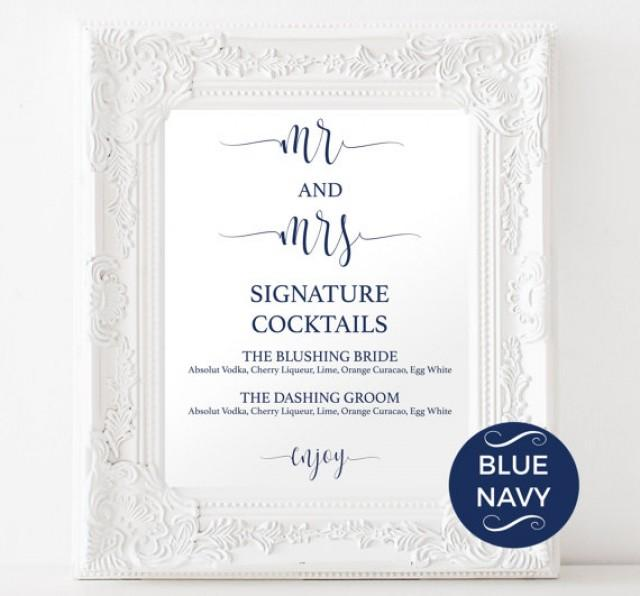 Signature drinks printable navy signature drink for Wedding drink menu template free