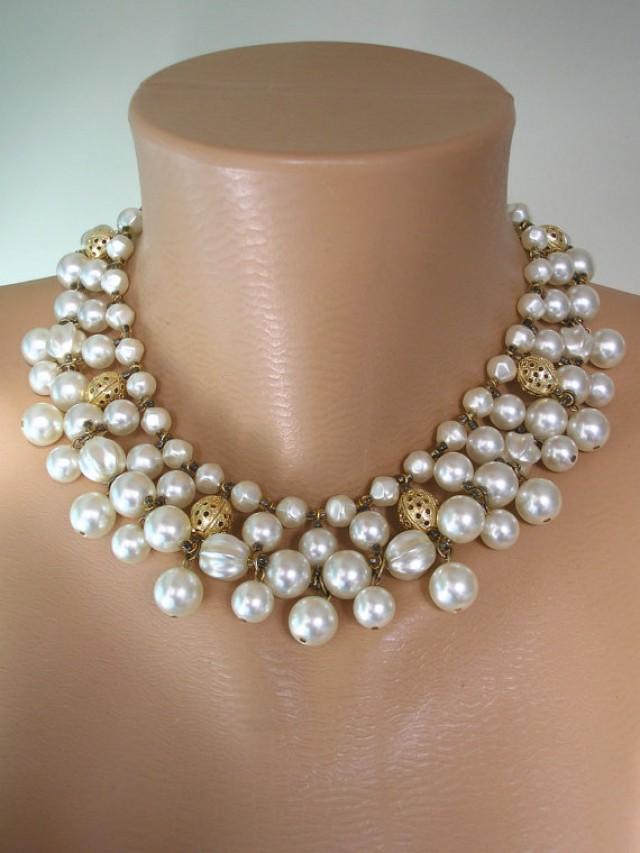 wedding photo - Vintage Pearl Collar, Pearl Choker, Ivory Pearls, Bridal Pearls, Deco, Great Gatsby, Wedding Jewelry, Mother of the Bride, Statement Choker