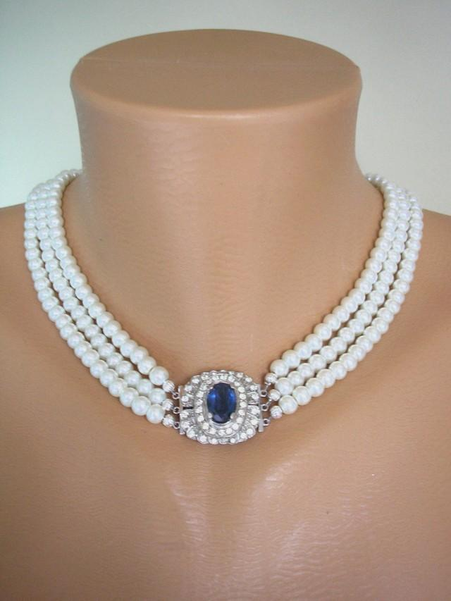 wedding photo - Sapphire and Pearl Necklace, Great Gatsby, Statement Necklace, Pearl Choker, Wedding Necklace, Bridal Jewelry, Art Deco, Montana, Navy Blue