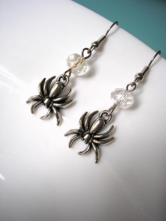 wedding photo - Spider Earrings, Halloween Earrings, Gothic Jewelry, Gothic Earrings, Halloween Spiders, Gifts For Her, Christmas Gift, Gifts For Women
