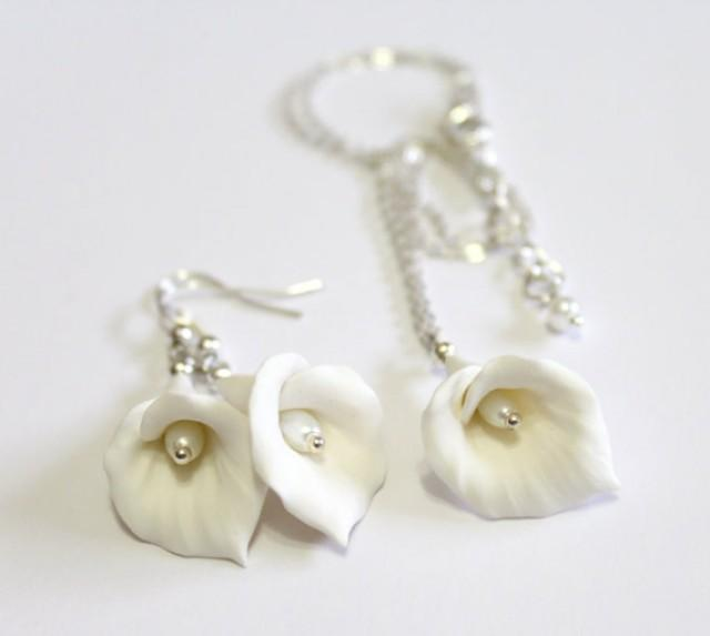 wedding photo - White Calla Lilies Set - Calla Lilies Jewelry Set - Gifts - White Calla Lilies Bridesmaid, Necklace, Bridesmaid Jewelry Set