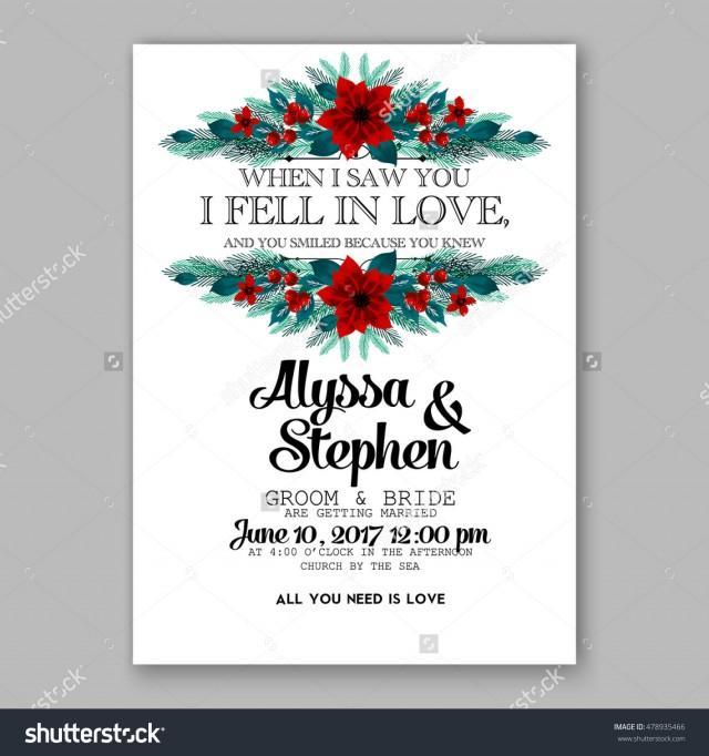 Poinsettia Wedding Invitation Sample Card Beautiful Winter ...