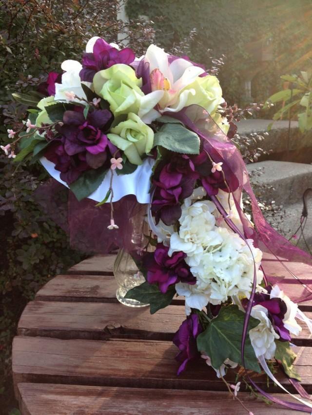 Eggplant Silk Wedding Flowers Eggplant Bridal Bouquet 2601056