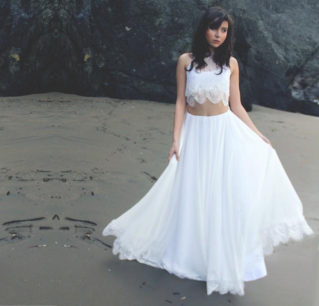 Crop Top Two Piece Bohemian Wedding Dress With Silk