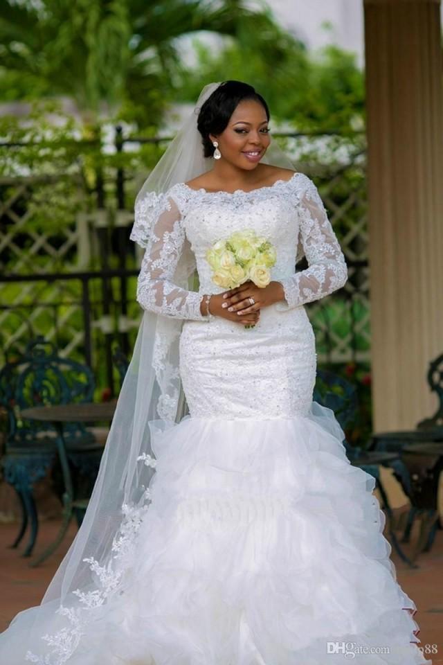New fashion 2016 vestido de noiva plus size boat neck lace for Boat neck long sleeve wedding dress