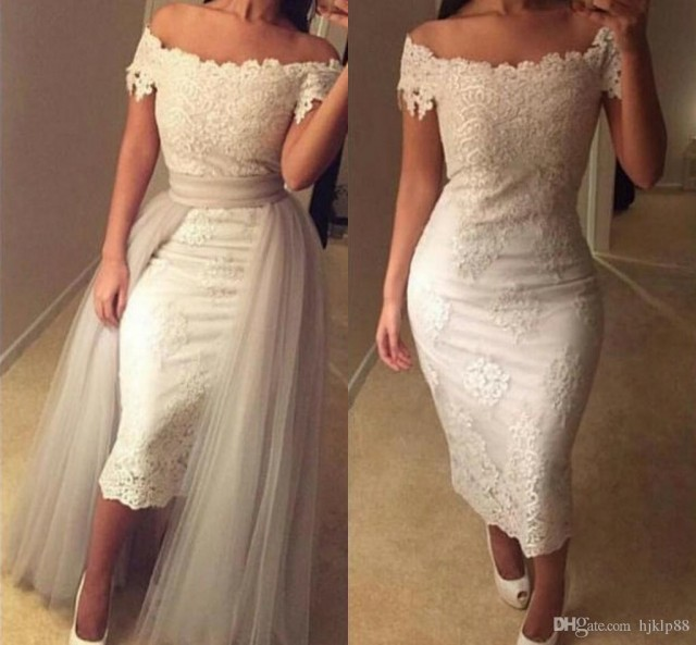 Off shoulder lace tea length wedding dresses appliques for Silver tea length wedding dresses