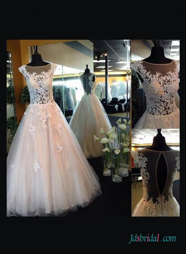 wedding photo - Sexy illusion lace sheer back ball gown wedding dress