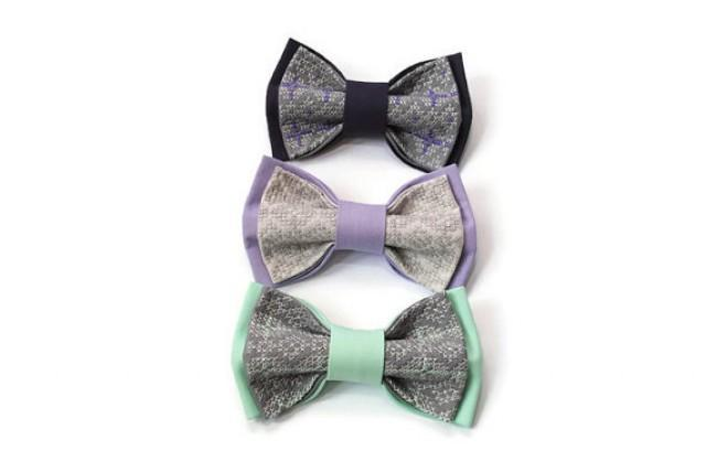 wedding photo - set of 3 men's bow ties gray necktie lilac bowtie eggplant tie mint bow tie groomsmen ties gift boyfriend lavender wedding mint wedding mrty