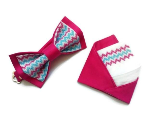 wedding photo - wedding set of hot pink bow tie and matching pocket square designed by Accessories482 groom tie groomsmen chevron neckties trauzeugen fliege