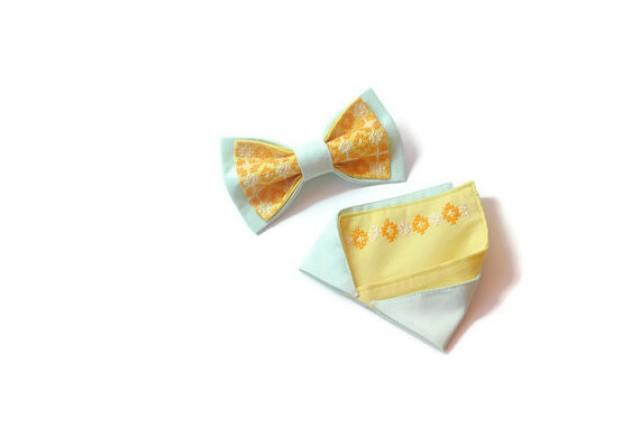 wedding photo - Mint striped&yellow bow tie and matching pocket square Pre folded pocket square Noeud papillon et correspondant pocket à la place de poche