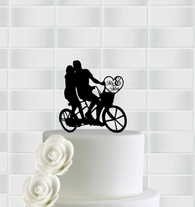 wedding photo - Wedding Cake Topper,Bicycle Cake Topper,Mr & Mrs Cake Topper,Bride And Groom On Bike Cake Topper,Wedding Topper,Silhouette Wedding Topper
