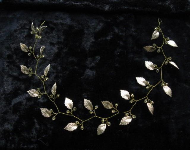wedding photo - Wedding headband Bridal greek crown Leaf headpieces Goddess headwear Grecian wedding Gold laurel crown Greek tiara Glass beaded tiara Halo