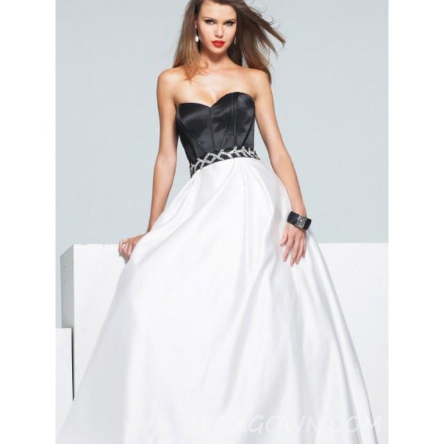 wedding photo - Schwarz und weiß schulterfreies Sweetheart Prom - Festliche Kleider