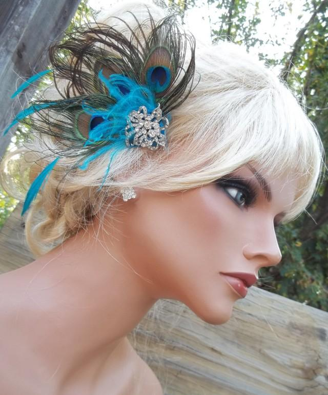 wedding photo - Peacock bridal fascinator hair accessory, wedding feather hair clip, green, turquoise, blue, large rhinestone brooch