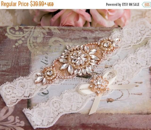 wedding photo - Rose Gold Wedding Garter set, Ivory Bridal Garter set, Ivory Lace Garter set, Rhinestone Garter, Rose Gold Garter, Rose Gold Lace garter
