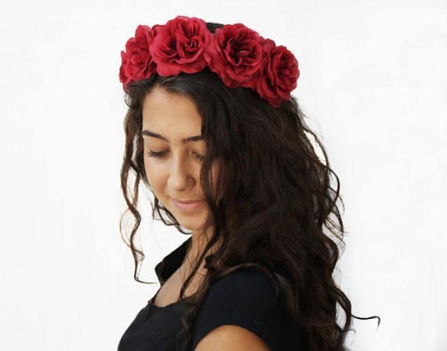 wedding photo - Frida Kahlo, Day of the Dead, Red Rose Headband, Flower Crown, Mexican Floral Crown, Red, Costume, Rose Headband, Rose Crown, Costume, Boho