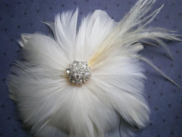 wedding photo - Ivory, wedding, hair, accessories, Bridal, Fascinator, Feather, Hair PIece, Accessory, facinator, flower - IVORY BLOSSOM