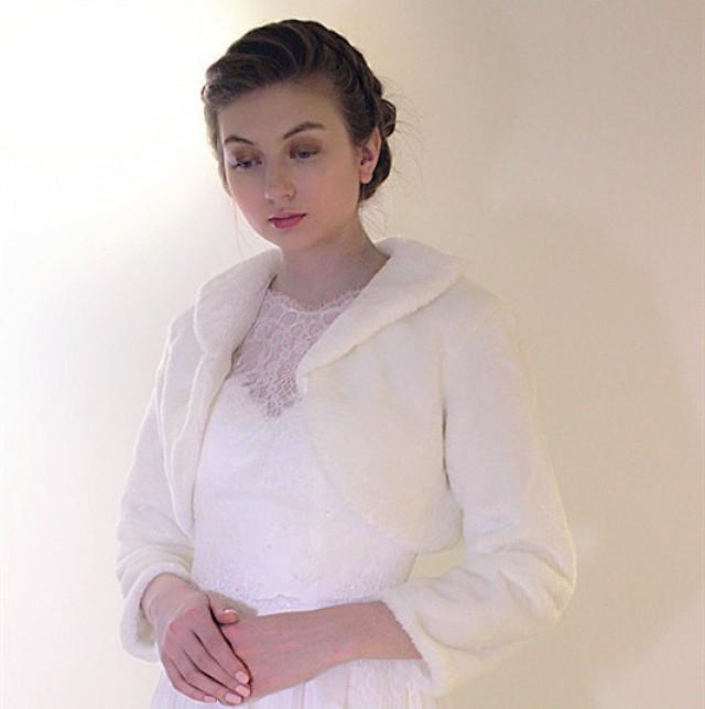 wedding photo - Bridal fur stole, Ivory Faux Fur Shawl, wedding winter long Sleeve jacket coat wrap, white evening shrug bolero bridesmaid accessories